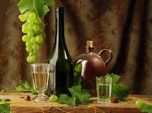Still life with white wine Stock Image