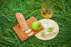 Still life with white wine, baguette, cheese, grape and apple Stock Photos