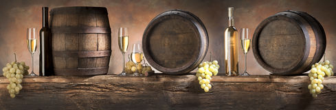 Still life with  white  wine Stock Photos