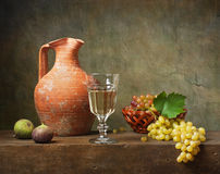 Still life with white wine Stock Photography
