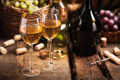 Still life with white wine Stock Images