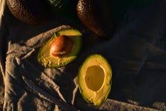 Ripe avocado cut into halves. Still life with whole avocados and one avocado cut into halves Royalty Free Stock Photos