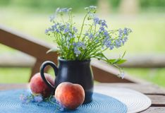 Still life with wildflowers and peaches Stock Image