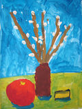 Still life with willow branches - painted by child Royalty Free Stock Images
