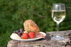 Still life wine. Plate with food and a glass of wine Stock Photos