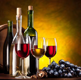 Still life with wine bottles Stock Images