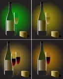 Still life with wine and cheese. In 4 variations Royalty Free Stock Image