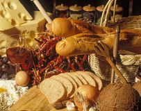 Still life with wine, cheese and bread royalty free stock image