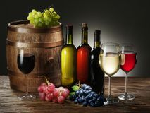 Still-life with wine, cheeses and fruits. stock images