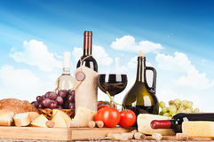Still life with wine and food Royalty Free Stock Image