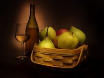 Still Life With Wine and Fruits (2) Stock Images