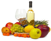 Still-life - wine and fruits on white background Stock Photo