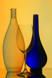 Still life with wine glass and bottles Royalty Free Stock Image