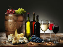 Still-life with wine and grape. Stock Images