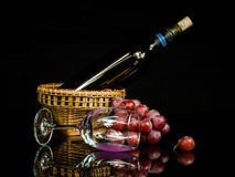 Still life wine and grape Stock Photos