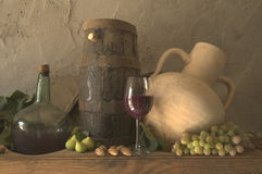 Still-life, wine grapes and figs.  Stock Images