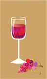 Still life with wine and grapes. Still-life with a glass of red wine and bunch of grapes Royalty Free Stock Photography