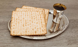 Still-life with wine and matzoh jewish passover bread Stock Photos