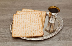 Still-life with wine and matzoh jewish passover bread Royalty Free Stock Photography