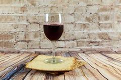Still-life with wine and matzoh jewish passover bread Royalty Free Stock Photos