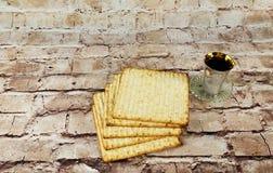 Still-life with wine and matzoh jewish passover bread Stock Photos