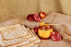 Still-life with wine and matzoh jewish passover bread Royalty Free Stock Photo
