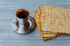 Still-life with wine and matzoh jewish passover bread Stock Photography