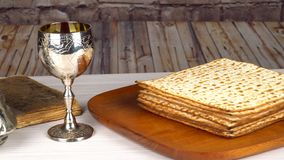 Still-life with wine and matzoh jewish passover bread stock video
