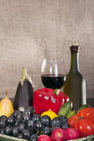 Still life with wine and some fruits,vegetables, Royalty Free Stock Photography