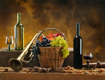 Still-life with wine and trumpet royalty free stock images