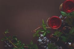 Still life with wineglasses, bottles, grapes and leaves Stock Image