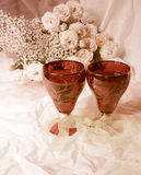 Still life with wineglasses and roses Royalty Free Stock Photos