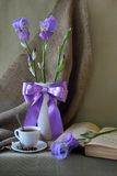 Still-life With A Bouquet Of Iris Royalty Free Stock Images
