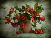 Still Life With A Viburnum And Glass Of Wine Stock Image