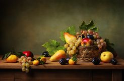 Free Still Life With Apple And Grapes Stock Image - 139856421