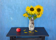 Free Still Life With Apple And Sunflowers Stock Images - 21567784