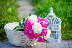Still Life With Bouquet Of Peonies Stock Photos