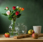 Still Life With Colorful Roses And Apples Stock Images