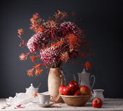 Still Life With Flowers And Utensils For Coffee Stock Photo