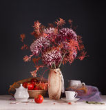 Still Life With Flowers And Utensils For Coffee Royalty Free Stock Photography