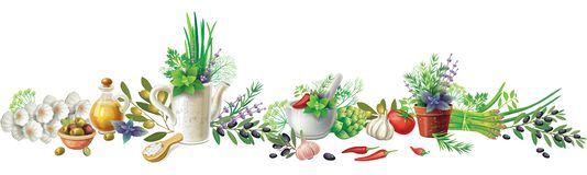 Still Life With Garden Herbs And Vegetables Royalty Free Stock Images