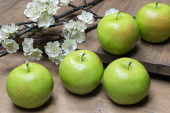 Still Life With Green Apples And Blossom On Wood Background. Stock Image