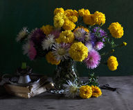 Still Life With Marigolds And Asters Stock Photo