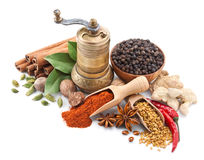 Still Life With Spices And Herbs On White Royalty Free Stock Photo