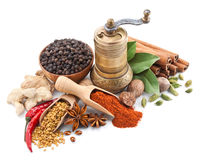 Still Life With Spices And Herbs On White Royalty Free Stock Image