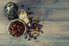 Free Still Life With Vintage Orintal Latern, Raisins And Dates Royalty Free Stock Photo - 45198425