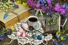 Free Still Life With Witch Diary, Tea Cup, Primrose, Sweets And Magic Objects Stock Images - 186447384