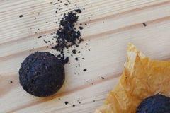 Close up of pressed Chinese fermented Pu-erh tea stock photo