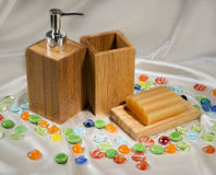 Still life with wooden bathroom accessories Royalty Free Stock Photos