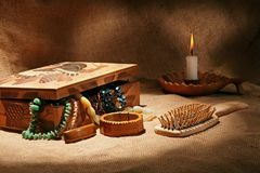 Still-life with wooden casket Stock Photos